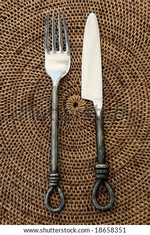 antique fork and knife