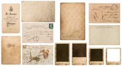 Antique french paper carte de visite, postcard carte postale, paper photo frame cardboard. Paper background. Paper texture. Old paper. Vintage postcard. paper isolated