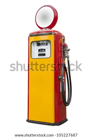 Antique gas pump on white, isolated