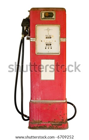 Antique gas pump with white sticker isolated on white
