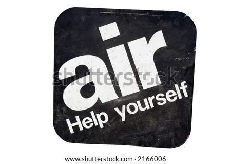 antique gas station air sign clipping path