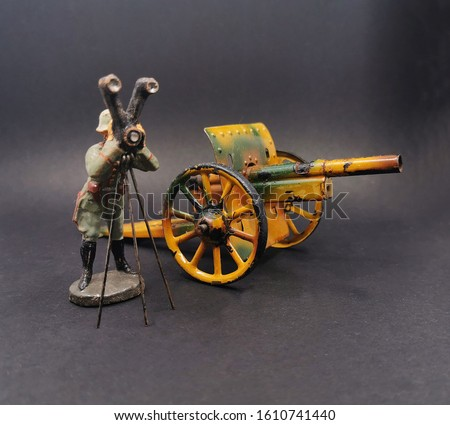 Antique German Toy Soldier with Cannon