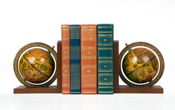 antique globe bookends with books-isolated white background
