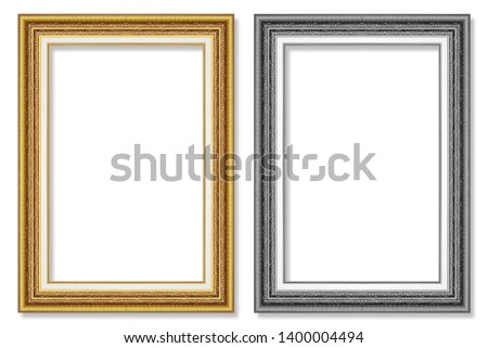 antique gold and black picture frame isolated on white background #1400004494