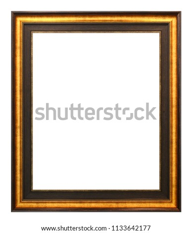 Antique gold and brown frame isolated on the white background vintage style #1133642177