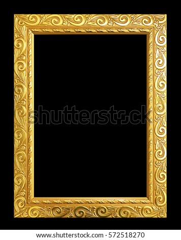 Antique gold frame isolated on black background, clipping path.