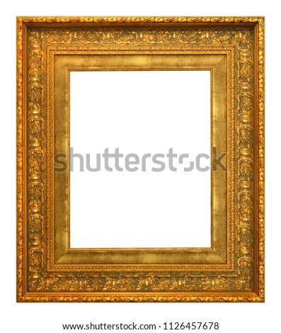 Antique gold frame isolated on the white background vintage style #1126457678