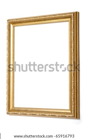 antique gold frame on a white background