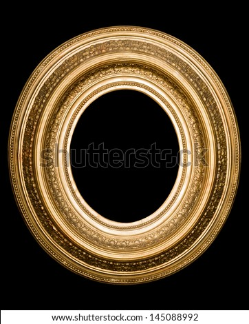 antique gold frame on the black background