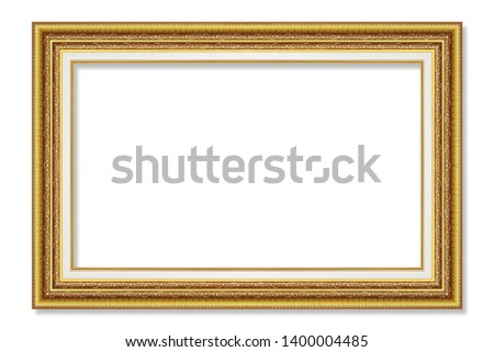 antique gold picture frame isolated on white background #1400004485