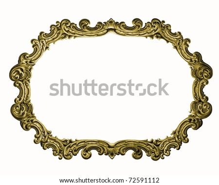 Antique gold picture frame isolated on white background   (See my portfolio for more)