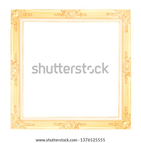 Antique gold picture frame isolated on white background with clipping path #1376525555
