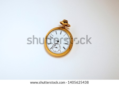 Antique Gold Pocket Watch close up with white background #1405625438