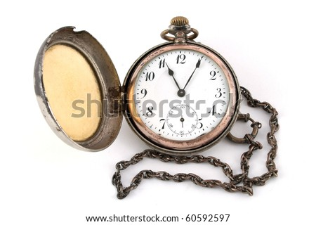 Antique gold pocket watch of the nineteenth century isolated on a white background