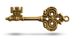 Antique Gold Skeleton door Old key isolated on white background. This has clipping path.