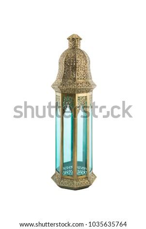 antique golden and blue ramadan lantern isolated on white background #1035635764