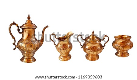 antique golden dinner set, luxury dishware set isolated on white background, luxury set of teapots