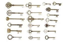 antique golden door keys isolated on white background