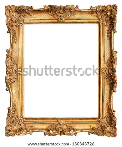 antique golden frame isolated on white background #130343726