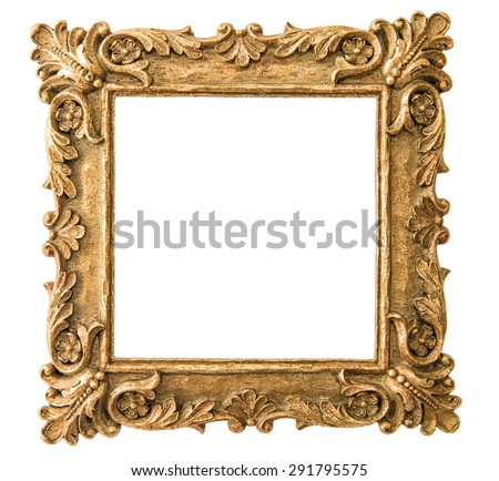 Antique golden frame isolated on white background. Retro style object