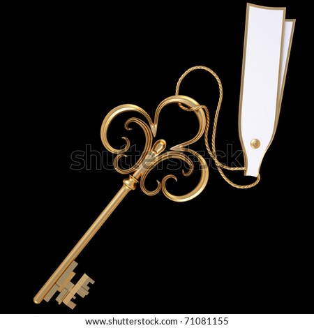 antique golden key with blank card. isolated on black. with clipping path. - stock photo