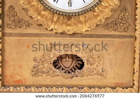 Antique Gothic style Vintage wall clock made of wood wonderful design different perspective angles alternative compositions on white background Macro Detail shot