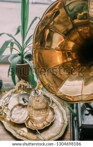 Antique gramophone details #1304698186