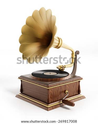 Antique gramophone isolated on white background #269817008