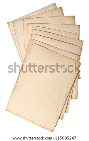 antique grungy paper sheets isolated on white background