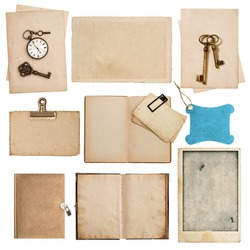 antique grungy paper sheets with clock and key isolated on white background
