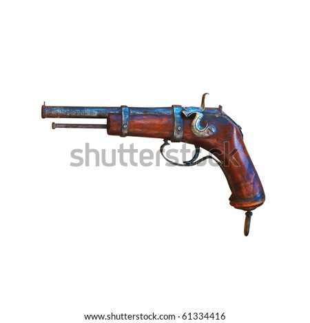 Antique gun. Isolated on white, with clipping path.