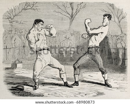 Antique humorous illustration of a boxing match beginning. Original, from drawing of Benassis and Darjou, published on L'Illustration, Journal Universel, Paris, 1860