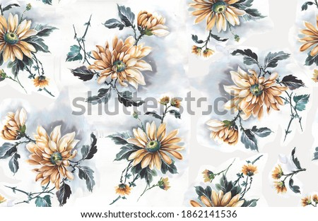 Antique illustration. Hand drawing wallpaper. The Amazing fabric Abstract Background, Halftone Flowers Bouquet, Floral illustration, for greeting card, textile and digital print - Illustration
