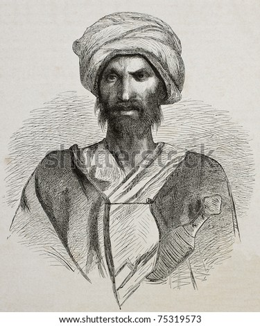 Antique illustration of a Bedouin from Sinai peninsula. Created by Pottin and Bida, published on Le Tour du Monde, Paris, 1864