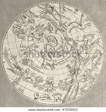 Antique illustration of  Celestial Planisphere (northern hemisphere) with constellations. Original engraving, Taillart sculp., is datable to the half of 19th c.