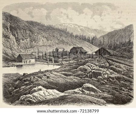 Antique illustration of construction site of Union Pacific Railroad opening in the Sierra Nevada. By Blanchard and Cosson-Smeeton, published on L'Illustration, Journal Universel, Paris, 1868 - stock photo