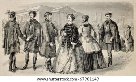 Antique illustration of Hungarian costumes. Original, from drawing of Lhernault,  published on L'Illustration, Journal Universel, Paris, 1860