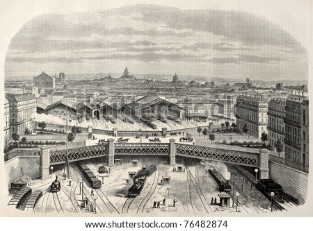 Antique illustration of iron bridge upon place de l'Europe (Europe square) in the west railway station. Created by Lamy, published on L'Illustration, Journal Universel, Paris, 1868