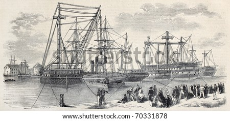Antique illustration of loading ships departing from Toulon to China. Original, from drawing of Lebreton, after sketch of Cecco, was published on L'Illustration, Journal Universel, Paris, 1860
