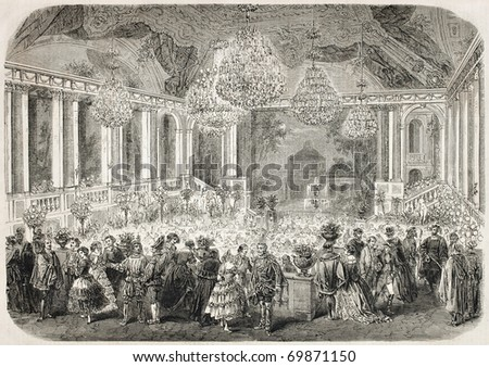 Antique illustration of masquerade ball in the Hotel d'Albe, Paris. Original, after drawing of J. Gaildrau, published on L'Illustration, Journal Universel, Paris, 1860