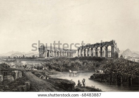Antique illustration of Paestum temples in southern Italy.  Original, created by Wolfensberger and J. Sands, was published in Florence, Italy, 1842, Luigi Bardi ed.