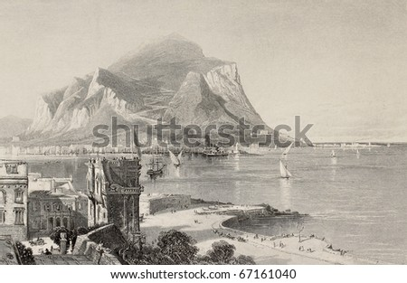Antique illustration of Porta Felice and Palermo bay with Mount Pellegrino in background, Italy. Engraved by S. Bradshaw on a picture of H. Fenn. Published in Pictoresque Europe, ca. 1875