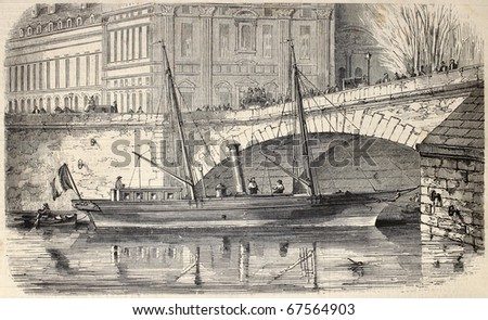 Antique illustration of Prince Napoleon's yacht moored along the Seine in Paris. Original, from drawing of Lebreton, was published on L'Illustration, Journal Universel, Paris, 1860