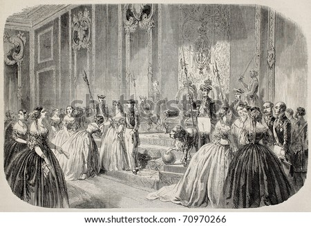 Antique illustration of queen of Spain hand kissing ceremony. Original, from drawing of Blanchard, after sketch of Valle, was published on L'Illustration Journal Universel, Paris, 1860