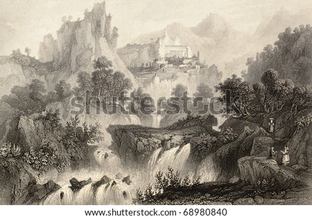 Antique illustration of Subiaco surroundings, in Lazio region, Italy. Original, created by Wolfensberger and Floyd, was published in Florence, Italy, 1842, Luigi Bardi ed.