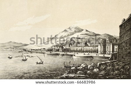 Antique illustration showing marine landscape of Palermo, Italy. Original engraving created by Alderani and Fattalini, was published in Italy in the second half of 19th c.