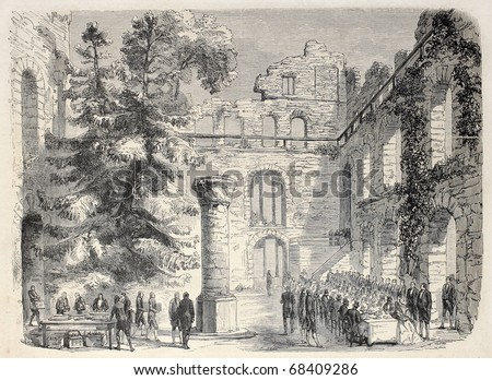 Antique illustration shows aristocratic dining among ruins of old Baden castle. Original, from drawing of Durand after sketch of Lallemand, published on L'Illustration, Journal Universel, Paris, 1860