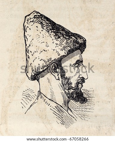 "Antique illustration shows image of Persian man. Original illustration, engraved on design by E. Duhousset, was published on ""L'Illustration, Journal Universel"", Paris, 1860"