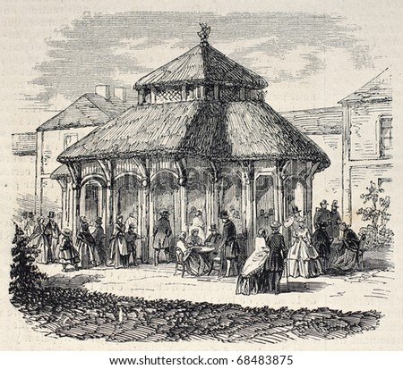 Antique illustration shows Milkbar exterior, in the Bois de Vincennes, Paris. Original, from drawing of Gaildrau, was published on L'Illustration, Journal Universel, Paris, 1860