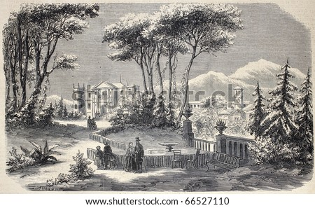 "Antique illustration shows Villa Raimondi, in the village of Fino, near Milan. Original  by M. Crapelet and J. Gaildrau, was  published on ""L'Illustration, Journal Universel"", Paris, 1860"